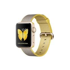Apple Watch Series 2, MNP32, 38 мм, корпус из золотистого алюминия, спортивный ремешок цвета «жёлтый/светло‑серый»